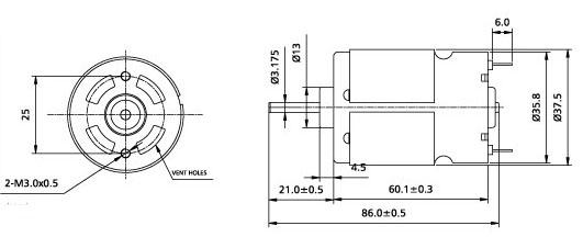 r-560 产品名称: 直流微型电机   详细资料:    1,代表用途:按摩器