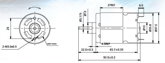 产品名称: 直流微型电机   详细资料:    1,代表用途:吹风机,按摩器